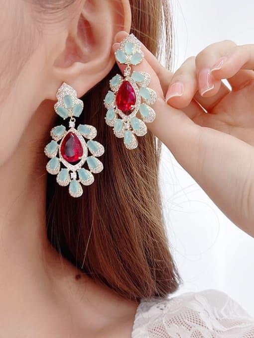 Luxu Brass Cubic Zirconia Flower Ethnic Drop Earring 2
