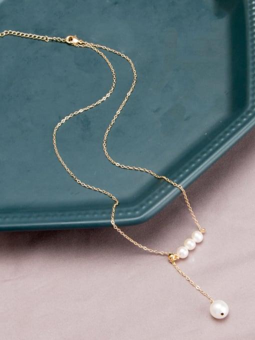 RAIN Brass Freshwater Pearl Tassel Vintage Lariat Necklace 1