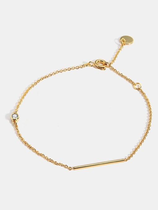 CHARME Brass Rhinestone Geometric Minimalist Link Bracelet 1