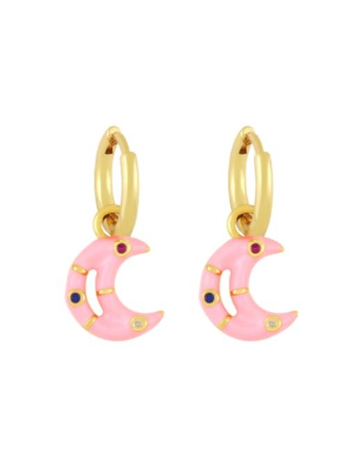 Pink Brass Enamel Moon Hip Hop Huggie Earring