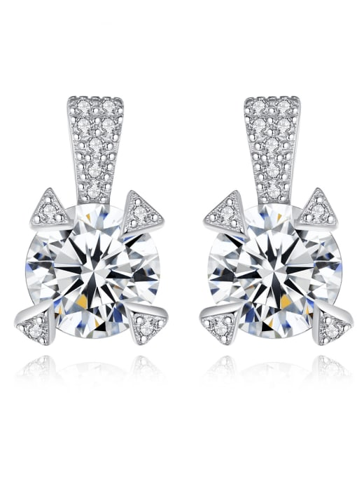 CCUI 925 Sterling Silver Cubic Zirconia Geometric Statement Stud Earring