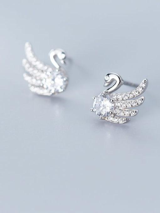 Rosh 925 Sterling Silver Cubic Zirconia Swan Cute Stud Earring 0