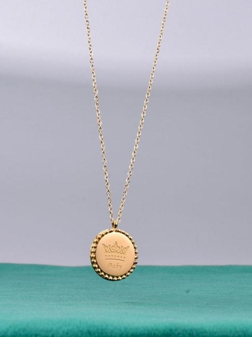 A TEEM Titanium Steel Crown Vintage Necklace 0