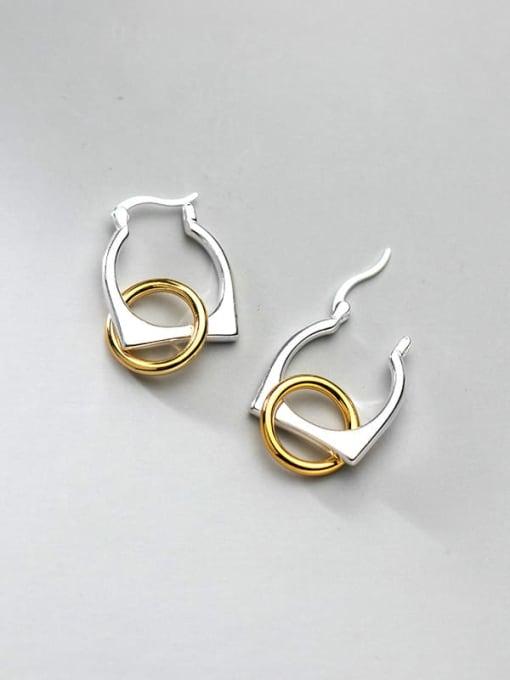 Color separation 925 Sterling Silver Geometric Minimalist Huggie Earring