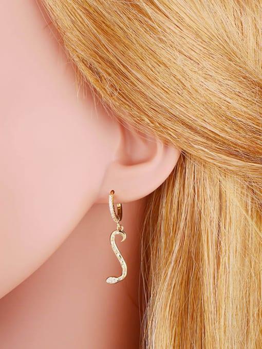 CC Brass Cubic Zirconia Snake Minimalist Drop Earring 2