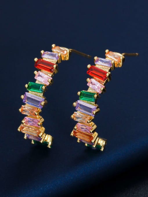 Gold color Brass Cubic Zirconia Geometric Luxury Stud Earring
