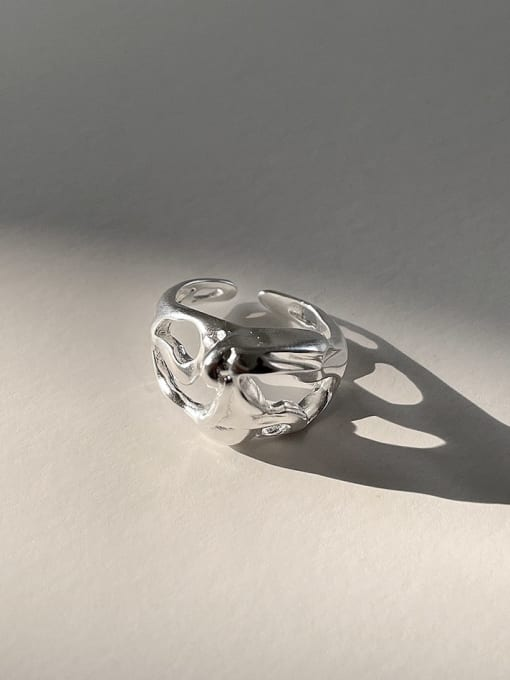 Special shaped j1567 4.2 925 Sterling Silver Irregular Vintage Band Ring