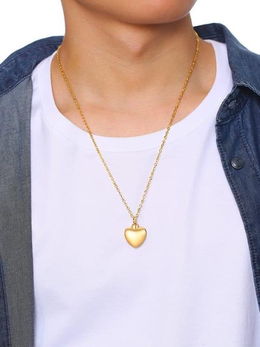 CONG Titanium Steel Smooth Heart Minimalist  Pendant Necklace 3