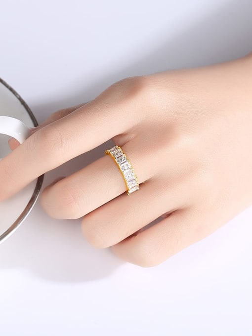 BLING SU Brass Cubic Zirconia Geometric Minimalist Band Ring 1