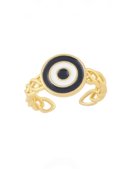 black Brass Enamel Evil Eye Vintage Band Ring