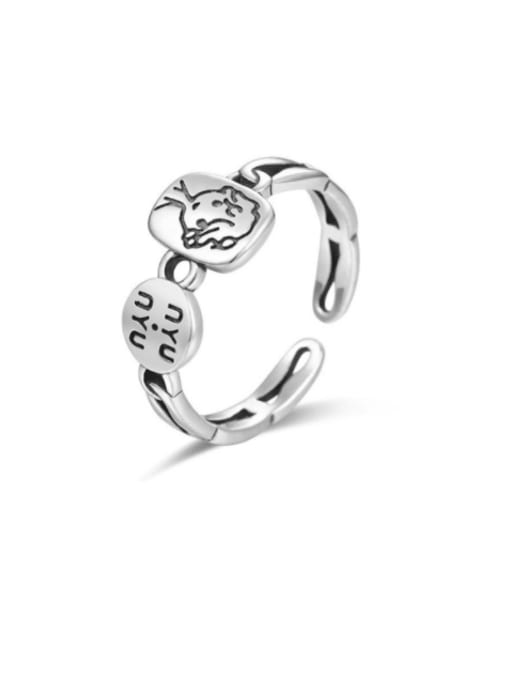 Boomer Cat 925 Sterling Silver Letter Geometric Vintage Band Ring 0