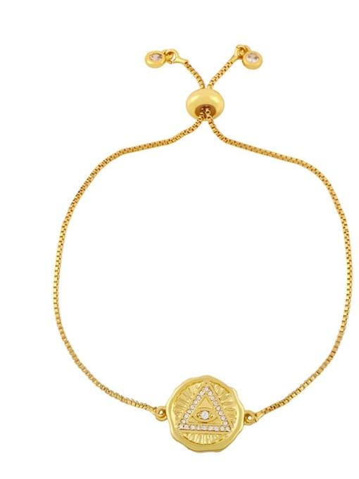 D Brass Cubic Zirconia Geometric Hip Hop Adjustable Bracelet