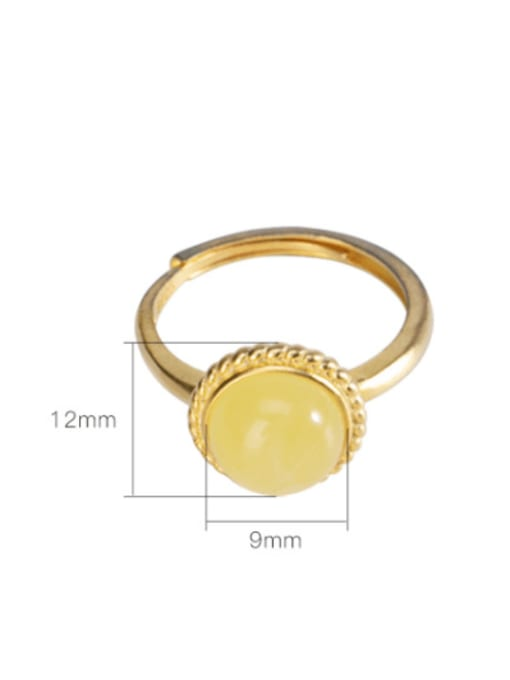 DEER 925 Sterling Silver Amber Round Minimalist Band Ring 3