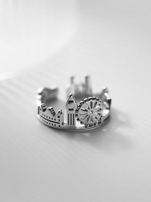 Rosh 925 Sterling Silver Irregular Vintage Band Ring 0