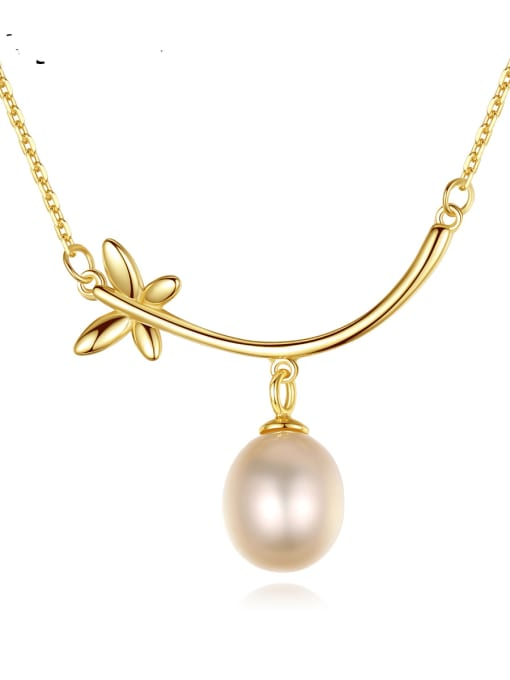CCUI 925 Sterling Silver Freshwater Pearl Flower Minimalist Necklace