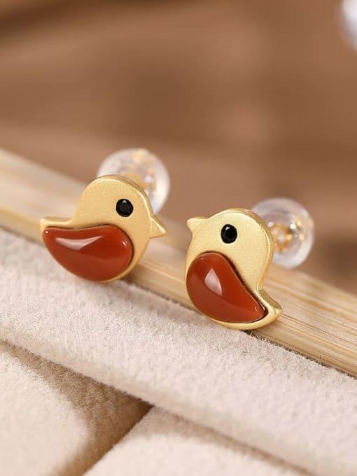 DEER 925 Sterling Silver Carnelian Bird Cute Stud Earring 0