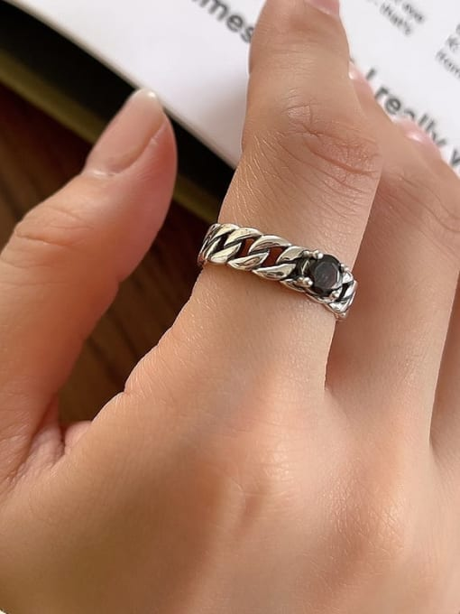 Chain ring j97 3.2g 925 Sterling Silver Cubic Zirconia Geometric Vintage Stackable Ring