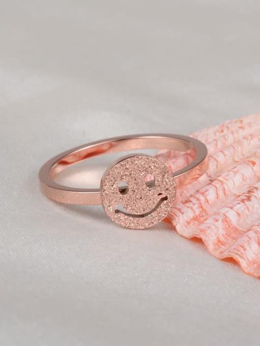 A TEEM Titanium Steel Smiley Minimalist Band Ring 1