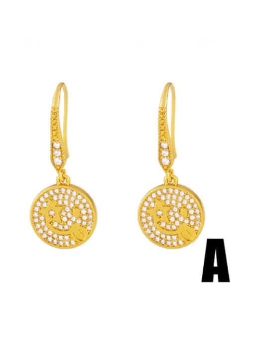 CC Brass Cubic Zirconia Round Hip Hop Hook Earring 1