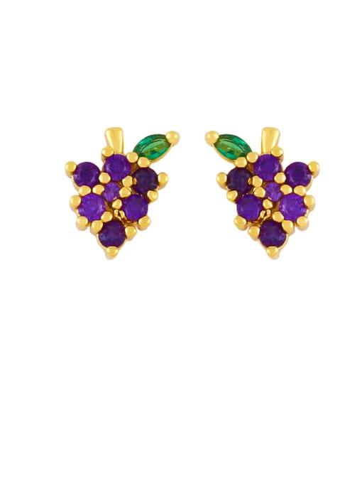 Grape Brass Rhinestone Friut Cute Stud Earring