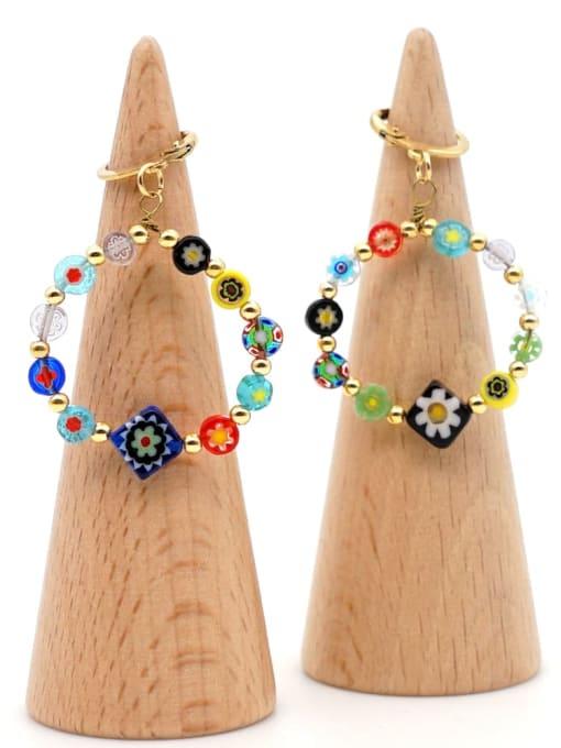 B E200019A Stainless steel Glass  bead  Flower Ethnic Drop Earring