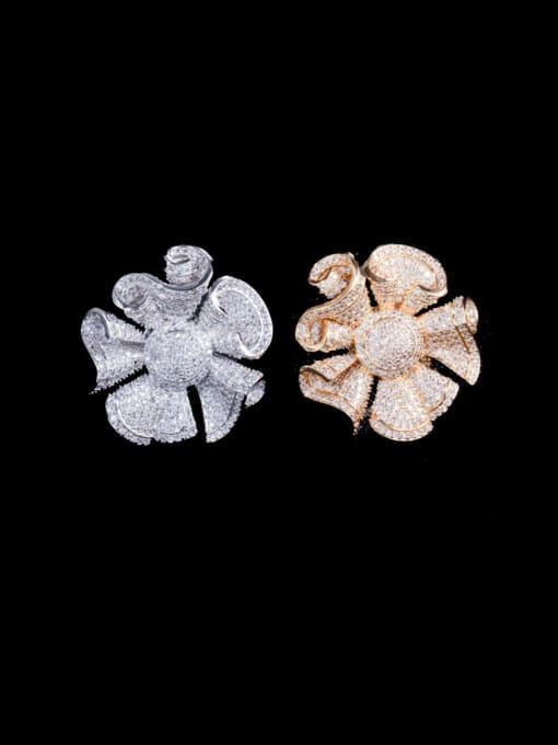 L.WIN Brass Cubic Zirconia Flower Luxury Statement Ring