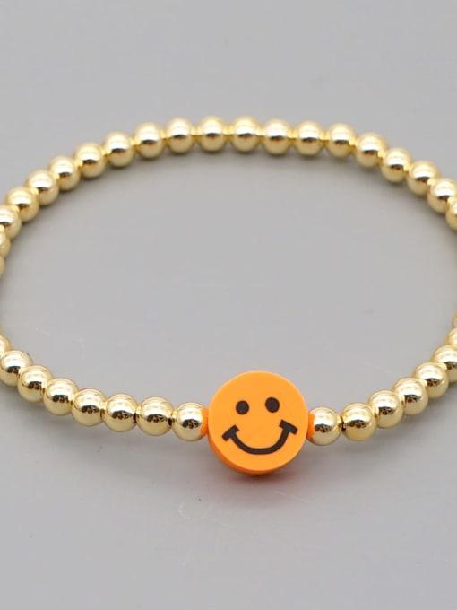 QT B200203F Stainless steel Polymer Clay Smiley Bohemia Beaded Bracelet