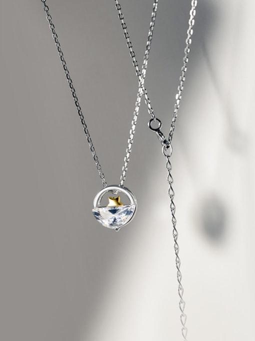 Rosh 925 Sterling Silver Cubic Zirconia Irregular Minimalist Necklace 1