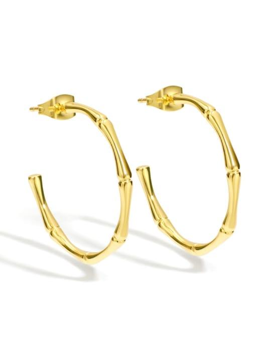 Golden Bamboo Earrings Brass Geometric Minimalist Hoop Earring