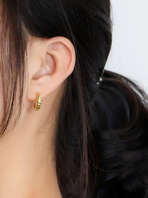 CHARME Brass Twist Irregular Vintage Stud Earring 1