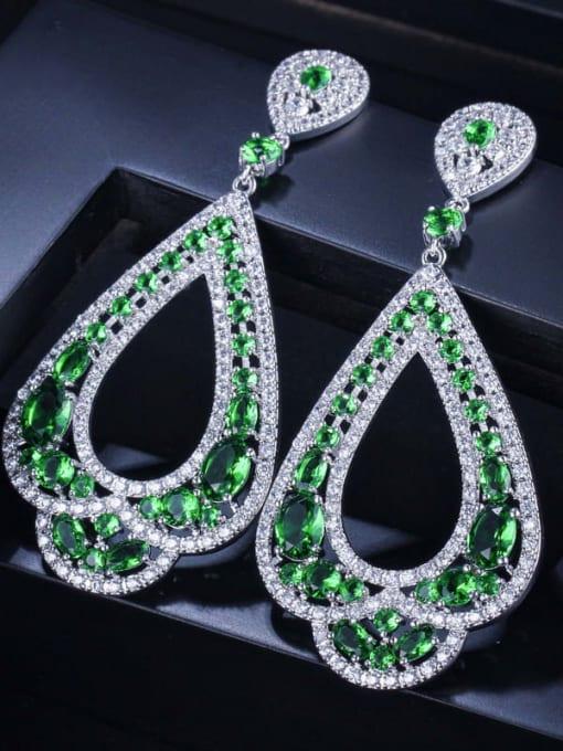 Platinum green Brass Cubic Zirconia Water Drop Luxury Drop Earring