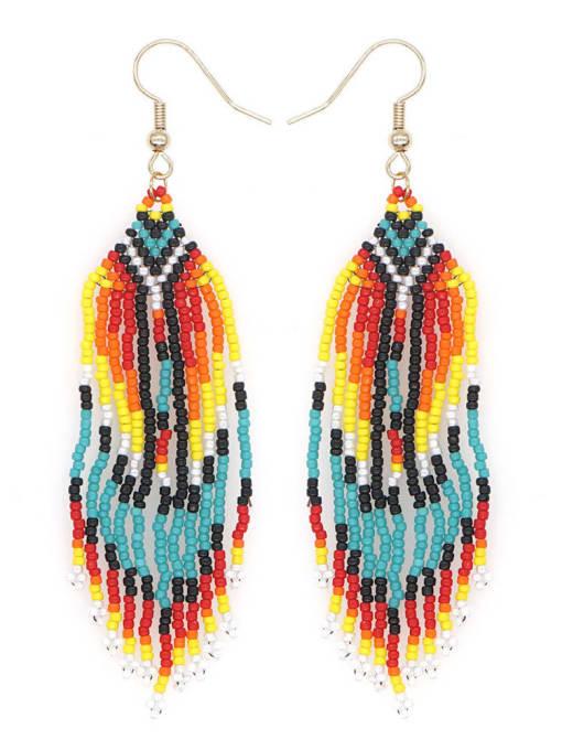 Roxi Stainless steel MGB Bead Multi Color Tassel Ethnic Hook Earring