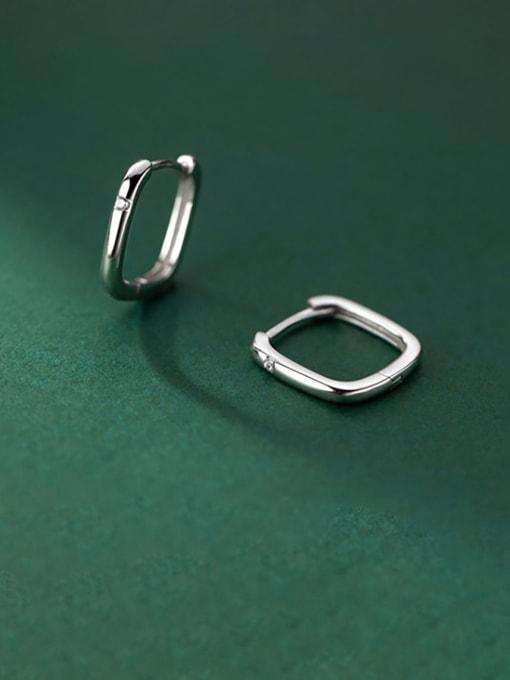 Rosh 925 Sterling Silver Hollow Geometric Minimalist Huggie Earring 0