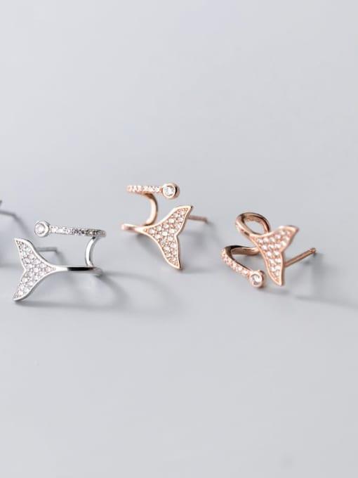 Rosh 925 Sterling Silver Rhinestone Triangle Dainty Stud Earring 2
