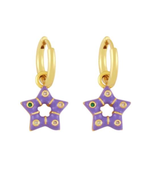 purple Brass Multi Color Enamel Star Vintage Huggie Earring