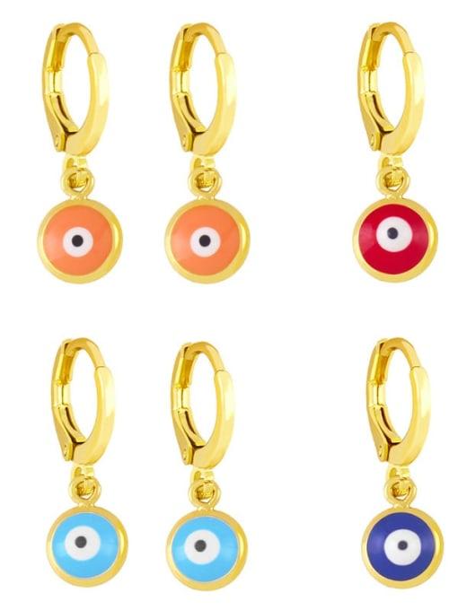 CC Brass Enamel Evil Eye Minimalist Huggie Earring