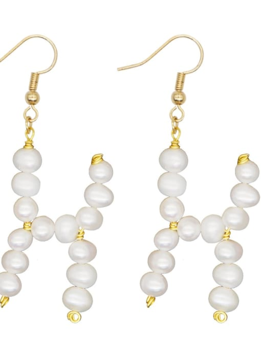 ZZ E200079H Stainless steel Freshwater Pearl Letter Ethnic Drop Earring