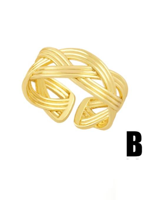 B Brass Irregular Hip Hop Band Ring