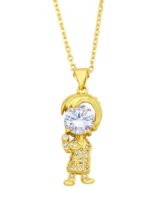 CC Brass Cubic Zirconia Ange girl boy  Minimalist Necklace 2