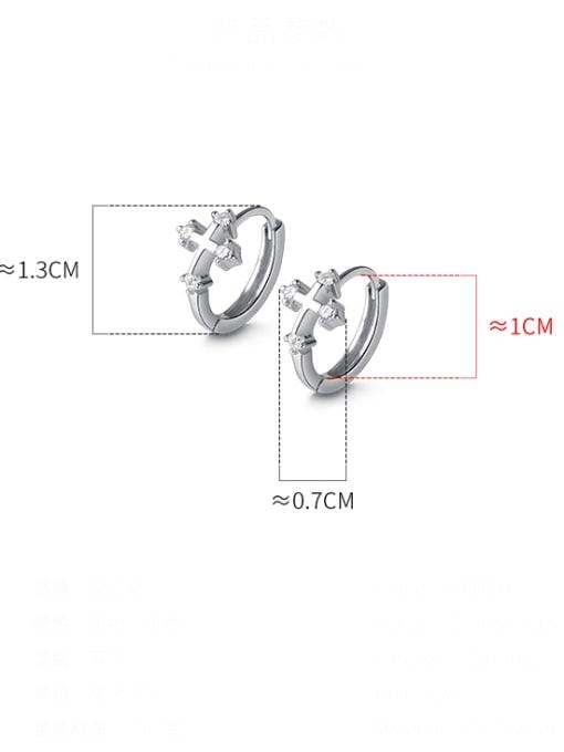 Rosh 925 Sterling Silver Cross Minimalist Huggie Earring 1