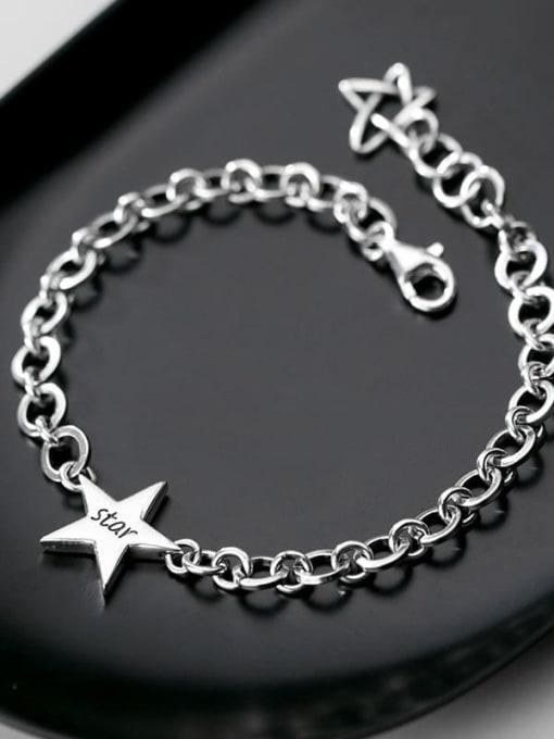 Rosh 925 Sterling Silver  Minimalist  Pentagram hollow chain Link Bracelet 1