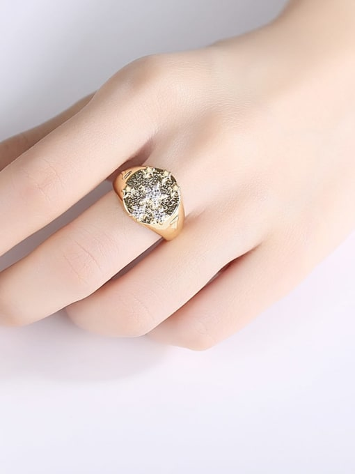 BLING SU Copper Two-color plating Geometric Vintage Band Ring 1