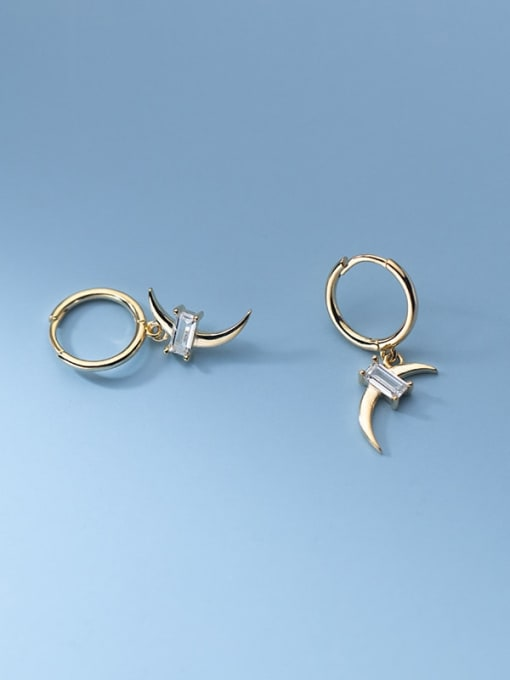 Rosh 925 Sterling Silver Cubic Zirconia Moon Minimalist Huggie Earring 2