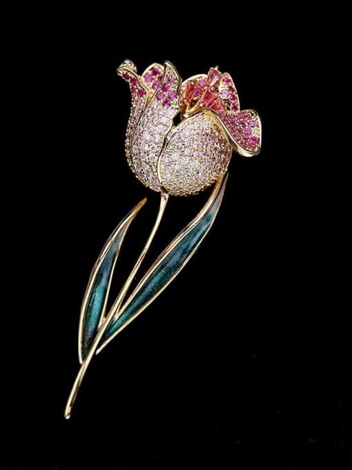 Luxu Brass Cubic Zirconia Flower Trend Brooch 0