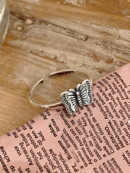 Boomer Cat 925 Sterling Silver Butterfly Minimalist Band Ring 1