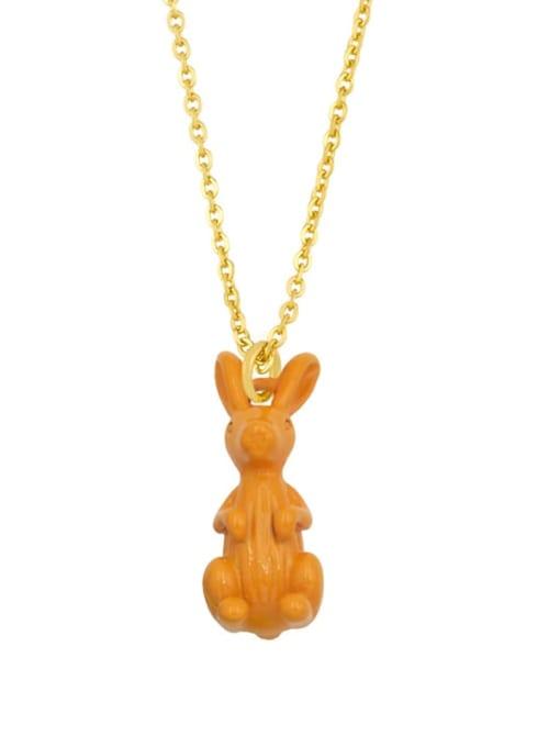 orange Brass Enamel Rabbit Vintage Necklace