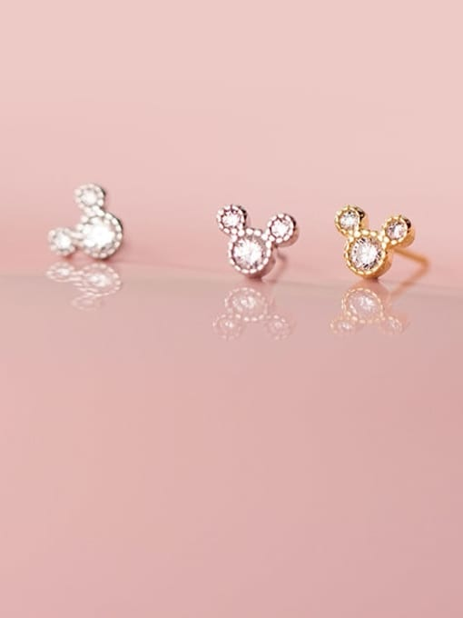 Rosh 925 Sterling Silver Cubic Zirconia Mouse Minimalist Stud Earring 1