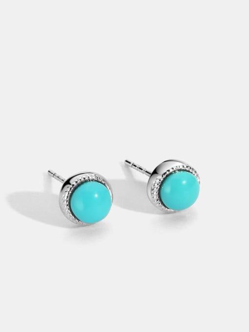 CHARME Brass Turquoise Geometric Vintage Stud Earring