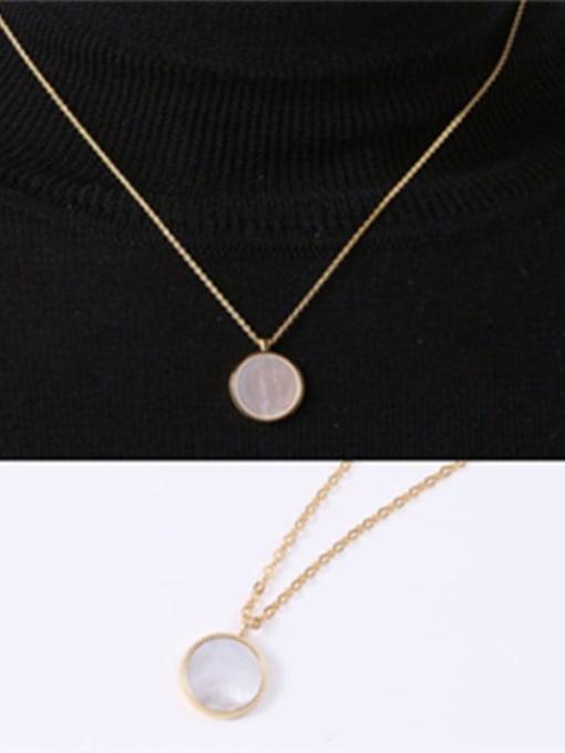 GROSE Titanium Steel Shell Round Minimalist Necklace 0