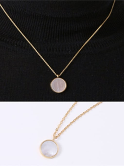 GROSE Titanium Steel Shell Round Minimalist Necklace